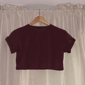 Crop t shirt with rolled sleeves
